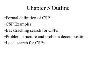 Chapter 5 Outline