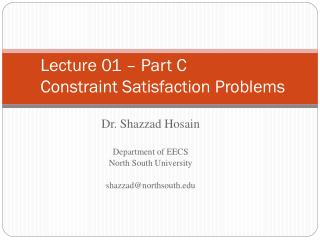Lecture 01 – Part C Constraint Satisfaction Problems