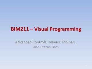 BIM211 – Visual Programming
