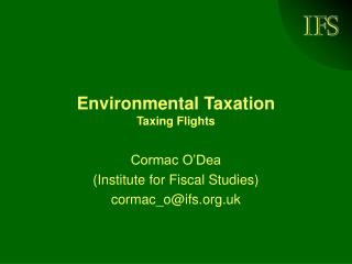 Environmental Taxation Taxing Flights