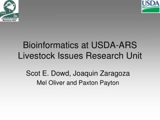 Bioinformatics at USDA-ARS Livestock Issues Research Unit