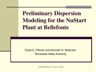 Preliminary Dispersion Modeling for the NuStart Plant at Bellefonte