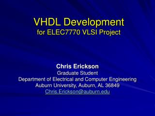 VHDL Development  for ELEC7770 VLSI Project