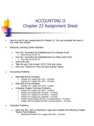 ACCOUNTING II Chapter 22 Assignment Sheet