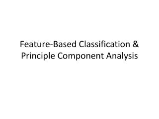 Feature-Based Classification & Principle Component Analysis