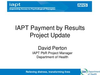 IAPT Payment by Results Project Update