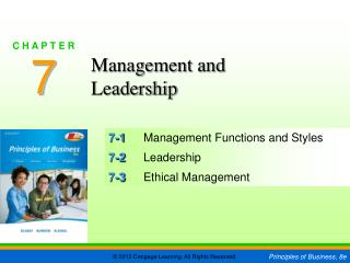 7-1	 Management Functions and Styles 7-2	 Leadership 7-3	 Ethical Management