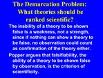The Demarcation Problem:  What theories should be ranked scientific