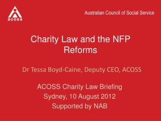 Charity Law and the NFP Reforms