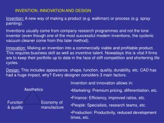 INVENTION, INNOVATION AND DESIGN