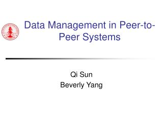 Data Management in Peer-to-Peer Systems