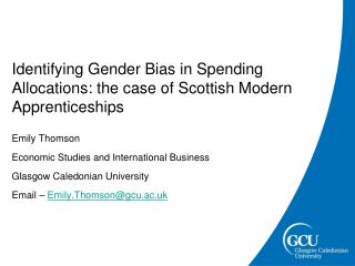 Identifying Gender Bias in Spending Allocations: the case of Scottish Modern Apprenticeships