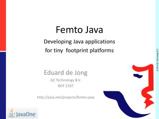 Femto Java Developing Java applications  for tiny  footprint platforms