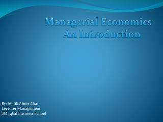 Managerial Economics An Introduction