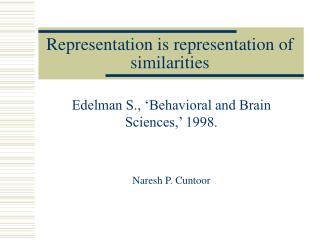 Representation is representation of similarities