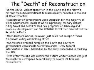 "The ""Death"" of Reconstruction"