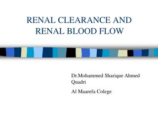 RENAL CLEARANCE AND               RENAL BLOOD FLOW