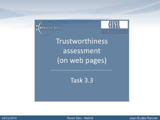 Trustworthiness assessment  (on web pages)