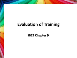 Evaluation of Training