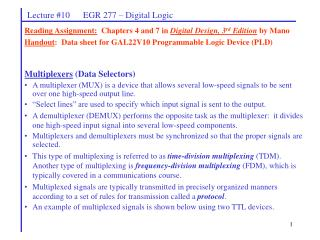 Lecture 10      EGR 277   Digital Logic