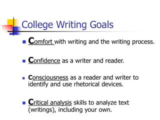 College Writing Goals