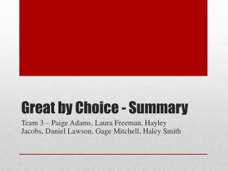 Great by Choice - Summary