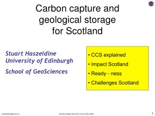 Carbon capture and geological storage for Scotland