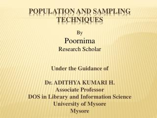 Population and sampling techniques