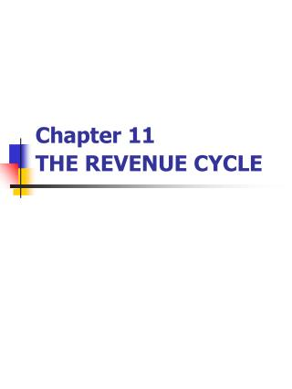 Chapter 11 THE REVENUE CYCLE