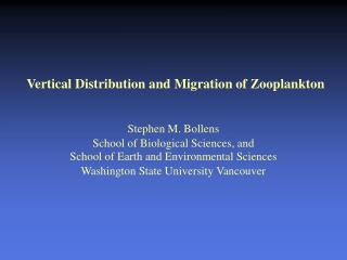 Vertical Distribution and Migration of Zooplankton