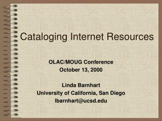 Cataloging Internet Resources