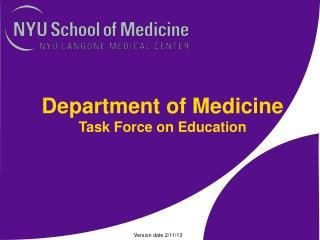 Department of Medicine Task Force on Education