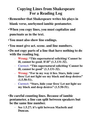 Copying Lines from Shakespeare For a Reading Log