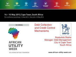 Siyabulela Bashe Manager: Debt Management City of Cape Town South Africa