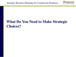 What Do You Need to Make Strategic Choices?