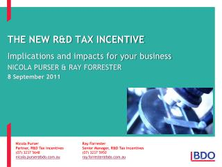 The New R&D Tax Incentive