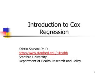 Introduction to Cox Regression