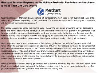 Merchant Services Prepares for the Holiday Rush