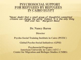 Psychosocial Support  	    for Refugees by Refugees  			in Cairo Egypt