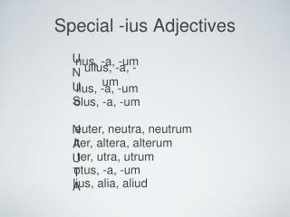 Special -ius Adjectives