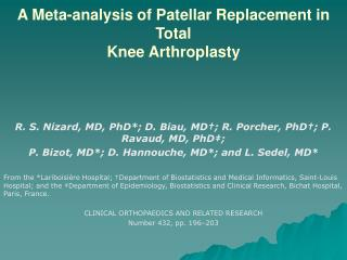 A Meta-analysis of Patellar Replacement in Total Knee Arthroplasty