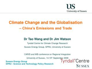 Climate Change and the Globalisation  – China's Emissions and Trade