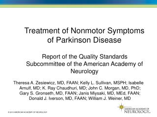 Treatment of Nonmotor Symptoms of Parkinson Disease