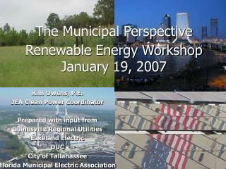 The Municipal Perspective Renewable Energy Workshop January 19, 2007