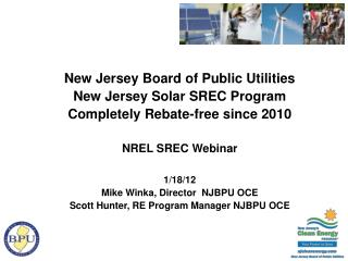 New Jersey Board of Public Utilities  New Jersey Solar SREC Program