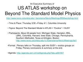 An Executive Summary of   US ATLAS workshop on   Beyond The Standard Model Physics