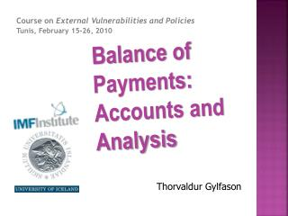 Balance of Payments:  Accounts  and Analysis