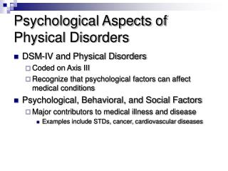 Psychological Aspects of Physical Disorders