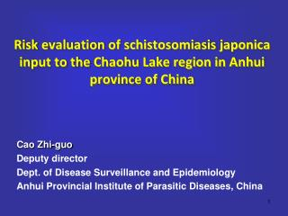 Cao Zhi-guo Deputy director Dept. of Disease Surveillance and Epidemiology