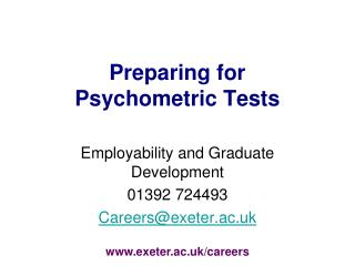 Preparing for  Psychometric Tests